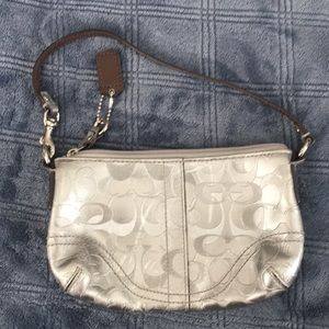 Silver Leather Coach Wristlet
